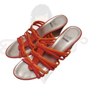 Impo Vacate Orange Open Toe Backless Slide Sandals